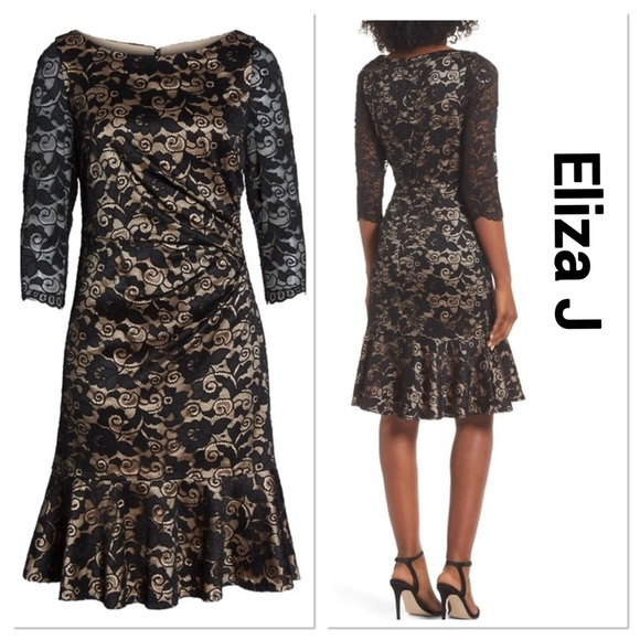 fc65ae06 Eliza J Dresses | Ruffle Hem Lace Sheath Dress | Poshmark